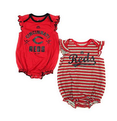 Outerstuff Cincinnati Reds Girls Baby Team Sparkle Clothing Apparel 2 Piece Creeper Set