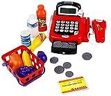 yoptote Caja Registradora Juguetes Supermercado Infantil Mercado Juguete Alimentos Juguetes Educación Calculo con Micrófono y Iluminar para Niño de 3 Años+ (Rojo)