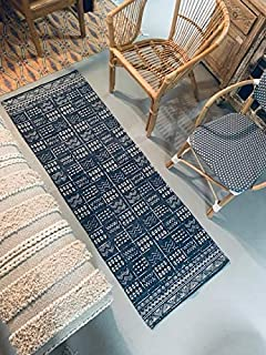 2' x 6' Runner Indigo Blue and White Batik Pattern Printed Cotton Small Runner Rug, Carpet or Mat