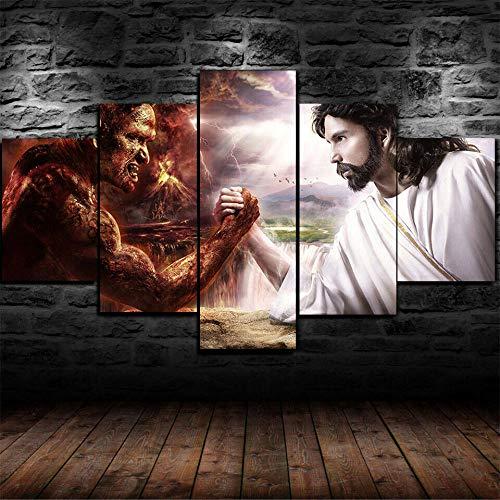 Stampe E Quadri su Tela Moderni Soggiorno 150x80cm quadro su tela Gesù Cristo Vs Lucifero Il Diavolo 5 Pezzi Stampa su Tela XXL Immagini Murale da Parete Poster HD Modulari Decorazioni per La Casa