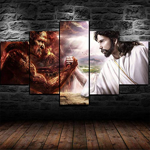 199Tdfc Puzzle Imprimir En Lienzo Enmarcado Jesucristo Contra Lucifer El Diablo Lienzo Arte De La Pared Decoración Para El Hogar 5 Piezas