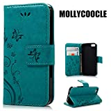 MOLLYCOOCLE iPhone SE 5S 5 Case Natural Luxury Blue Stand Wallet Purse Credit...