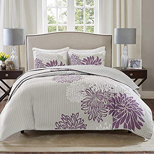 Comfort Spaces Enya 3 Piece All Season, Lightweight Coverlet, Cozy Bedding, Matching Shams, Decorative Pillows, Full/Queen(90'x90'), Purple