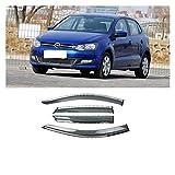 ZLLD Deflectores de Viento para Volkswagen Polo 2011-2017 Venta de Ventana de plástico Sombras de ventilación Sun Sun Rain Deflector Guard Case Styling Aire Visera Lateral (Color : Claro)