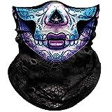Obacle Skull Face Mask for Women Men Dust Wind UV Sun Protection Seamless Bandana Face Mask for Rave Festival Motorcycle Riding Biker Fishing Outdoor Running 3D Tube Mask (Women Purple Blue Face)