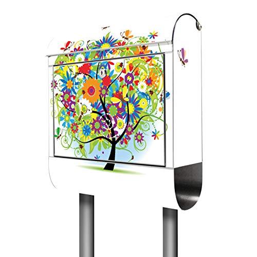 Banjado Briefkasten Edelstahl mit Ständer | Postkasten freistehend 146x36x14cm | Standbriefkasten mit Zeitungsfach und Namensschild Motiv Märchenzauberbaum
