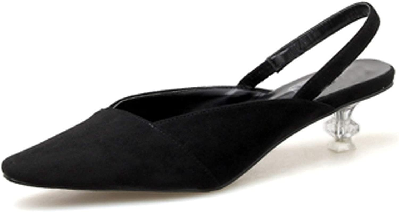 HuangKang shoes New 2019 Summer Medium High Heels 5Cm Transparent Heel Sandals Leopard Black Ladies shoes