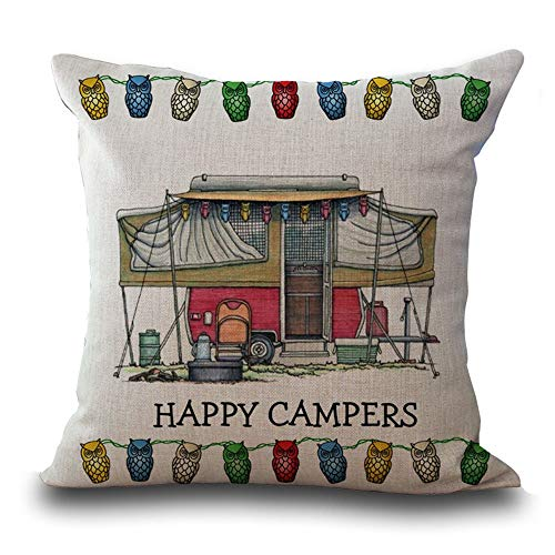 Hengjiang WEIANG Cartoon Camping Car Cotton Linen Cushion Cover 18X18 Pillowcase Throw Pillow Case Sofa Decoration Happy Campers (05)