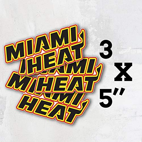 Heat Basketball - Miami Sport Slogan Logo Vinyl Sticker Decal Set of 3 Pieces - 5'' Longer Side
