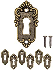 FUXXER® - 6 placas para llaves antiguas con forma de roseta para cerradura, 45 mm x 23 mm, color bronce