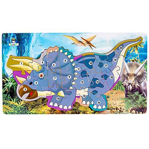 Holzpuzzles für Kinder, 3D-Puzzles für Kleinkinder, Dinosaurier-Drachen-Puzzle, Bildung, Erkennungsspielzeug, Lernblock-Puzzles für Vorschulkinder