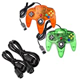 miadore 2-Pack Wired Classic 64 Controller Bundle with 2 Extension Cords [1.8m/6ft ] Compatible with N64 Video Game Console (Clear Orange and Green)