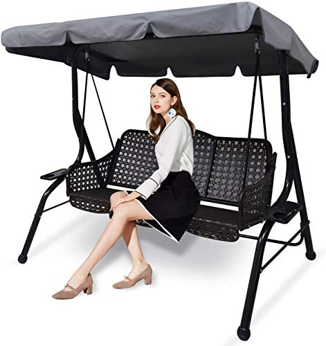 3 Seat Patio Swing with Canopy, Canopy Swing...
