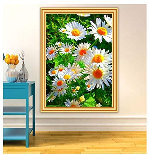 DIY Diamant Painting Bilder Voll Kits für Erwachsene Kinder White Flowers 5D Diamond Painting Full Set Kristall Strass Stickerei Kreuzstich für Home Wall Decor -Square Drill,27.5x35.4inch/70x90cm