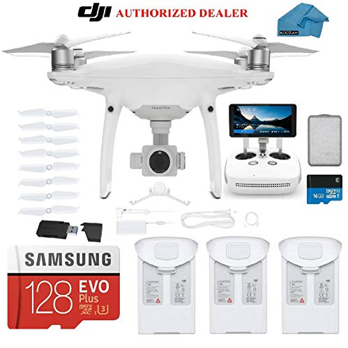 DJI Phantom 4 PRO Plus V2.0 Drone with 1-inch 20MP 4K Camera KIT with Built in Monitor, 3 Total DJI Batteries, 128gb Micro SD Cards, Reader, Must Have Bundle