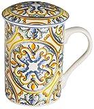 Baroni Home Tazza da tè in Ceramica con Filtro in Acciaio Inox. Tisaniera con Tappo decori maioliche 12x8x12 cm Noto