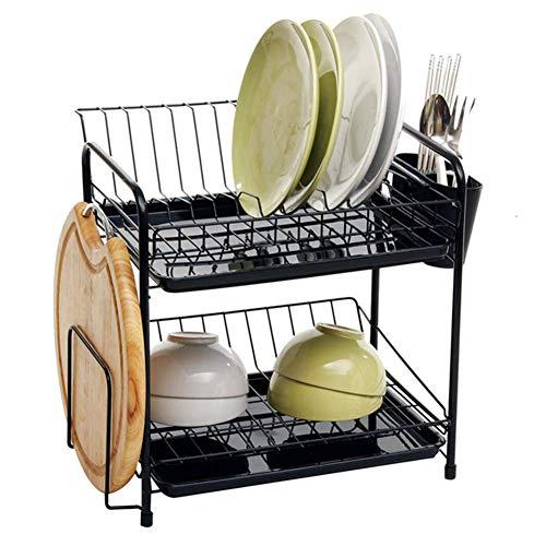 CDKET Abtropfgestell Dish Drainer Rack Geschirrständer Geschirrkorb 2 Etagen zweistöckig mit Besteckkorb und Abtropfschale für Küche Teller und Besteck-43x30x36cm A