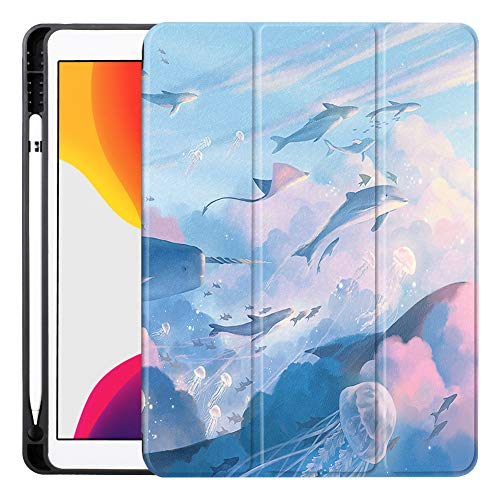 NIMIFOOL Case for iPad Soft color cute pattern with automatic sleep/wake function supports Apple Pencil's first generation to adapt to iPad Air3 / iPad 2019 / iPad mini5,H,iPad-2019