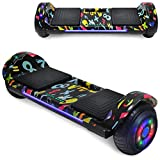 TPS Hoverboard Self Balancing Scooter with Speaker LED Lights Flashing Wheels for Kids - 2020 Design - UL Certified - UL Certified (Graffiti Black)