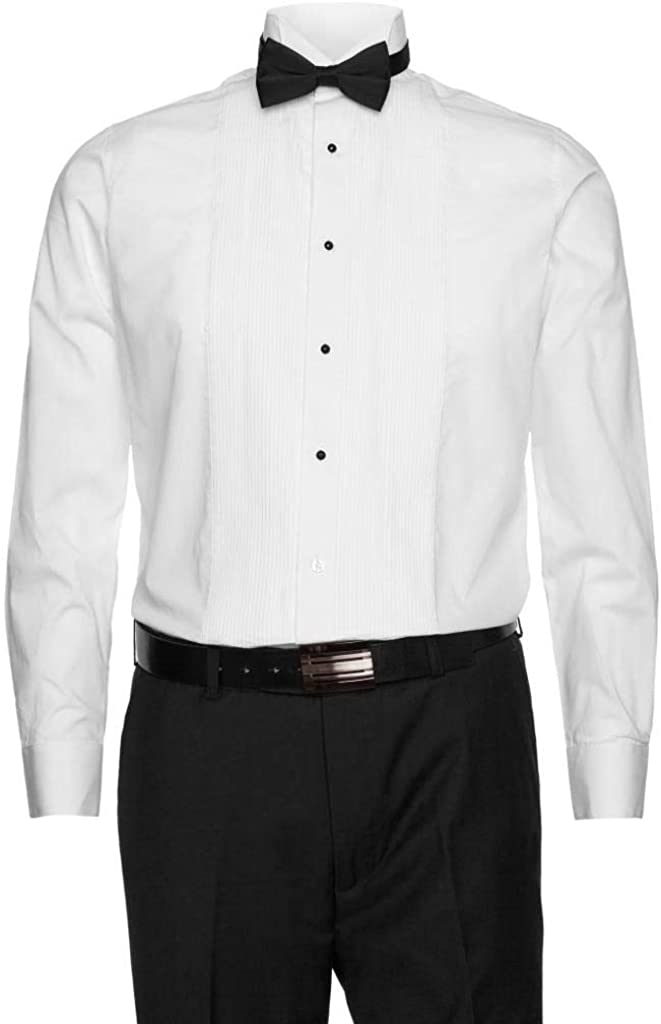 Gentlemens Collection Mens Tuxedo Shirts Poly/Cotton Free Bow Tie On Selected Styles