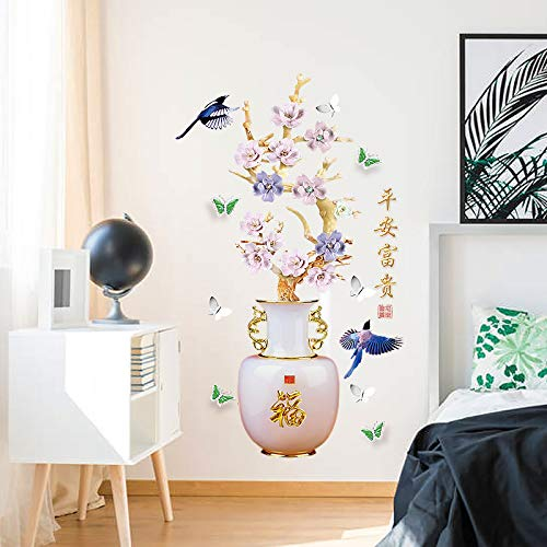 Plum Blossom Vaas Muurstickers Chinese Stijl Bloemen Home Decor Goede Betekenis Kunst Behang Vogel Decoratieve Vinyls voor Muren