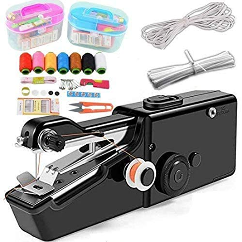 Handheld Sewing Machine, Cordless Handheld Electric Sewing Machine with Thread Kit Mini Portable Size, Quick Handy Stitch for Home or Travel use White (Black)