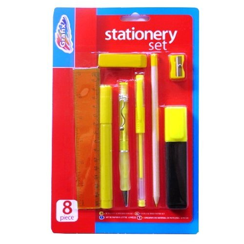 Briefpapier-Set 8 Stück - Lineal, Marker, Gelschreiber, Kugelschreiber, Bleistift, Textmarker, Radierer & Spitzer