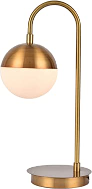 Berliget Modern Industrail Glass Globe Brass Metal Gold Table Lamp, Nightstand Bedside Lamp for Bedroom Living Room Office