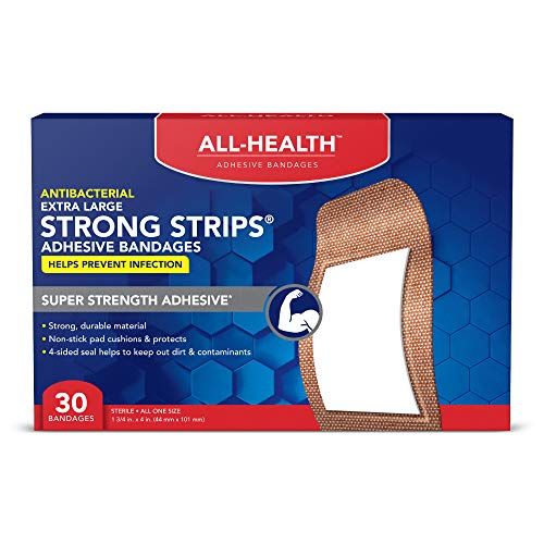 All Health Antibacterial Heavy Fabric Strong Strip Adhesive Bandages, XL 1.75 in x 4 in, 30 ct |...