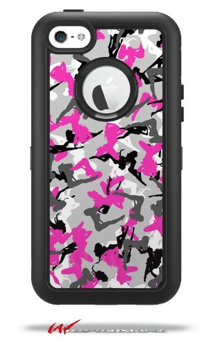 Sexy Girl Silhouette Camo Hot Pink Fuschia - Decal Style Vinyl Skin fits Otterbox Defender iPhone 5C Case (CASE Sold Separately)