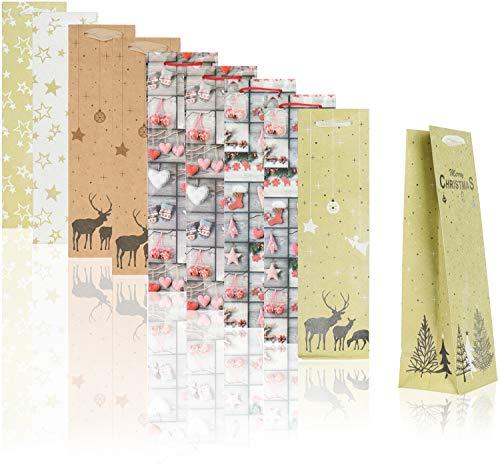 COM-FOUR bolsa de regalo 10x con motivos navideños - bolsa de regalo para botellas de vino y champán - bolsa de botella para Navidad y Santa Claus [la selección varía] (10 piezas - mezcla de motivos)