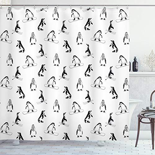 ABAKUHAUS Pinguin Duschvorhang, Skifahren Penguins in Schals, mit 12 Ringe Set Wasserdicht Stielvoll Modern Farbfest & Schimmel Resistent, 175x180 cm, Weiß Schwarz