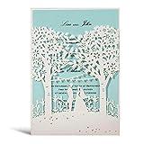 WISHMADE 20x inviti di nozze con albero tagliato laser Carta Sposa e sposo Elegante carta di fidanzamento, blu e bianco, 20 pezzi