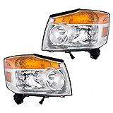 Driver and Passenger Halogen Combination Headlights Headlamps Compatible with 08-15 Armada 26060-9GA0B 26010-9GA0B