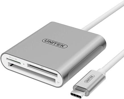 Unitek USB C Card Reader, Aluminum 3-Slot USB 3.0 Type-C Flash Memory Card Reader for USB C Device, Supports SanDisk Compact Flash Memory Card and Lexar Professional CompactFlash Card - Grey