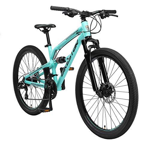 BIKESTAR Bicicleta de montaña de Aluminio Suspensión Doble Completa 26 Pulgadas | Cuadro 16' Cambio Shimano de 21 velocidades, Freno de Disco, Fully MTB | Turquesa