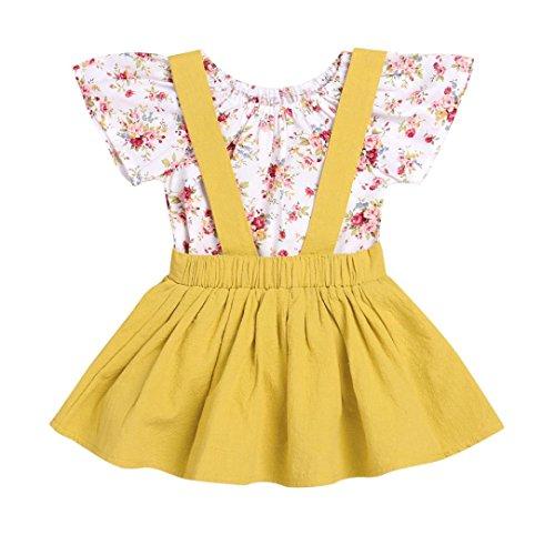 Sommerkleider Kinderbekleidung Party Kleid Babykleidung Prinzessin Kleid Junge Mädchen Kleinkind Sommer Blumendruck Kleid Strampler Overall Kleid Tutu Kleider Outfits Set LMMVP (Gelb, 80)