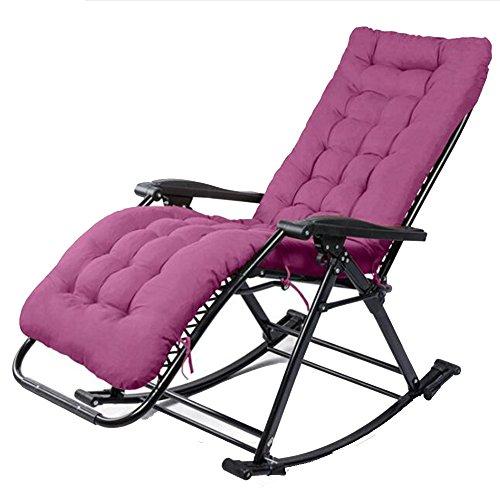 Chaises pliantes Xiaolin Rocking Chair \ Lunch Break Chaise de Repos \ Loisirs \ Chaise de Loisirs pour Adultes \ Chaise pour Personnes âgées (Couleur : Purple)