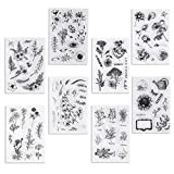 UCEC 8 Sheets Clear Stamps, Vintage Plants and Flowers Silicone Rubber Stamps, Small Clear Stamps for Card Making Decoration and DIY Scrapbooking