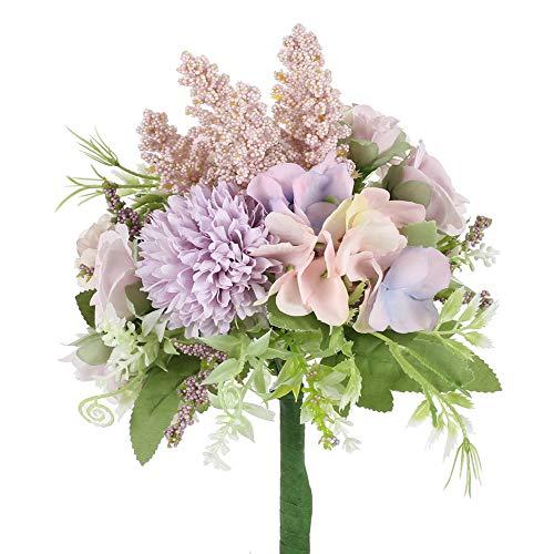 HUAESIN Ramo de Novia Artificial Purpura con Hortensias de Seda Rosas y Lanvadas Ramo de Boda Bouquet Flores Artificiales Decoracion para Nupcial Iglesia Arreglo Floral Fiesta Bautizo Balcon Mesa