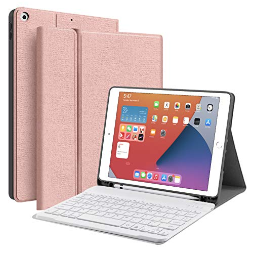 """JUQITECH iPad 10.2 8th 7th Generation Keyboard Case - Smart Case with Wireless Keyboard iPad 10.2"""" 8th Gen 2020 7th 2019 Tablet Detachable Bluetooth Keyboard Stand Cover with Pencil Holder, Rose Gold"""