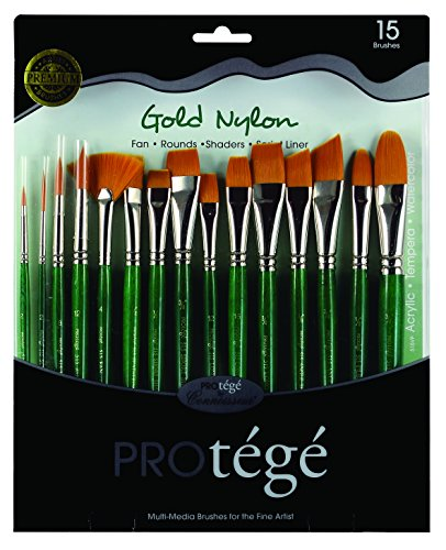 Connoisseur Gold Nylon Short Handle Brush Set, 15-Piece