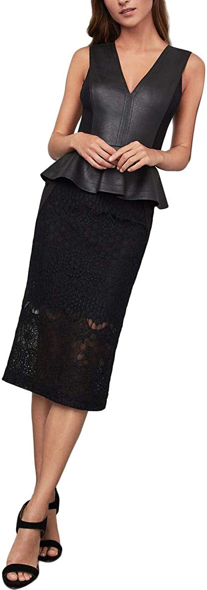 BCBGMAXAZRIA Women's Ornate Floral Lace Pencil Skirt
