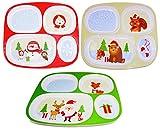 Christmas Plates Dinnerware For Kids (Set of 3) Melamine Divided Plates, Christmas Dinner Plate...