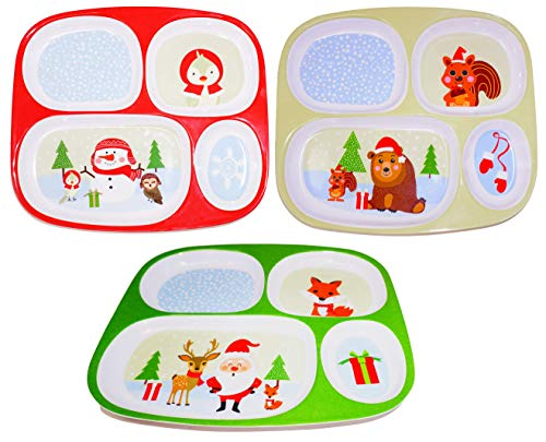 Christmas Plates Dinnerware For Kids (Set of 3) Melamine Divided Plates, Christmas Dinner Plate Dishes for kids - Dishwasher Safe, BPA Free by 4E's Novelty