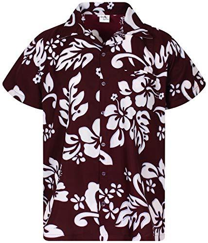 King Kameha Funky Hawaiian Shirt, Shortsleeve, Hibiscus, Maroonred, XS
