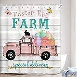 MERCHR Oster-Duschvorhang, rustikaler Bauernhaus-Stil, rosa Lastwagen mit bunten Ostereiern auf Holz, Badezimmervorhang, Polyester-Stoff, lustiger Hase, für Kinder, Badezimmer-Dekoration, 177,8 cm