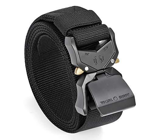JASGOOD Men's Tactical Belt Heavy Duty Webbing Belt Adjustable Military Style Nylon Work Belts with Alloy Buckle (Black,Waist Size 36-40Inch)