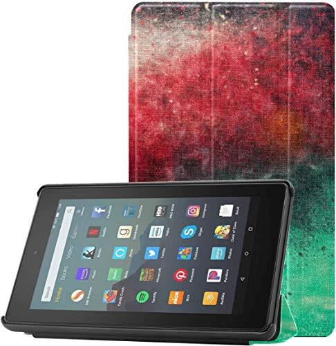 Cover Funda para Tableta Fire 7 Billar en la Mesa de Fieltro Rojo Fundas y Cubiertas para Kindle 7 para Tableta Fire 7 (novena generación, versión 2019) Ligera con Reposo automático/a