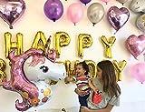 Paquete de 37 Piezas de Globos de Unicornio y de Corazon metálicos Ideales para Fiesta, Cumple años, festejos, Aniversarios, Letras Happy Birthday Doradas
